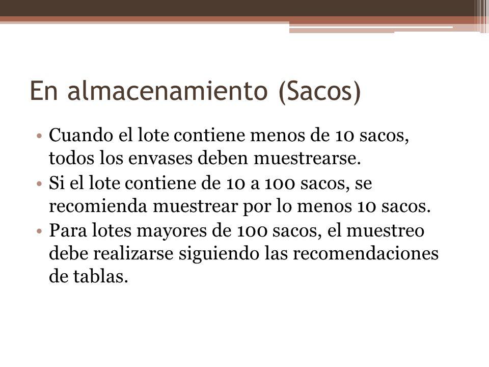 En almacenamiento (Sacos) Cuando el lote contiene menos de 10 sacos, todos los envases deben muestrearse. Si el lote contiene de 10 a 100 sacos, se re