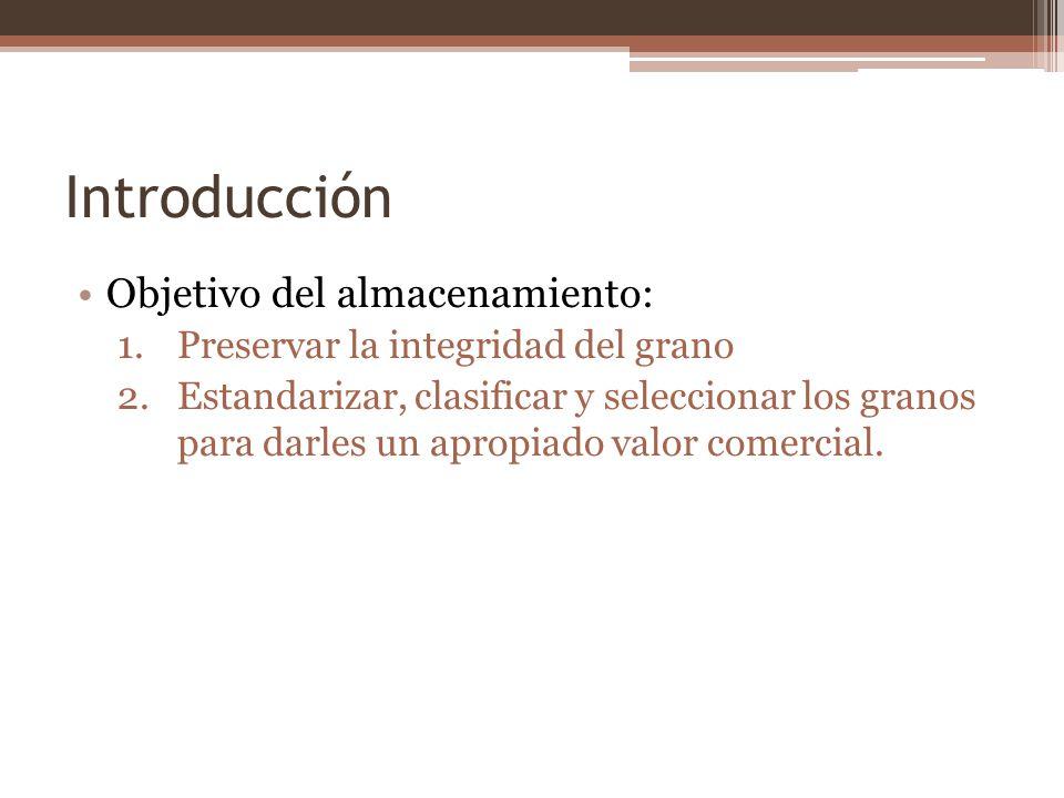 Introducción Objetivo del almacenamiento: 1.Preservar la integridad del grano 2.Estandarizar, clasificar y seleccionar los granos para darles un aprop