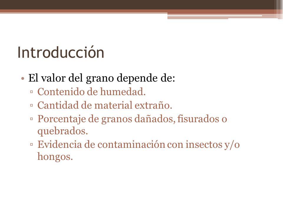 Introducción El valor del grano depende de: Contenido de humedad. Cantidad de material extraño. Porcentaje de granos dañados, fisurados o quebrados. E
