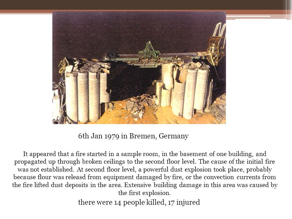6th Jan 1979 in Bremen, Germany It appeared that a fire started in a sample room, in the basement of one building, and propagated up through broken ce