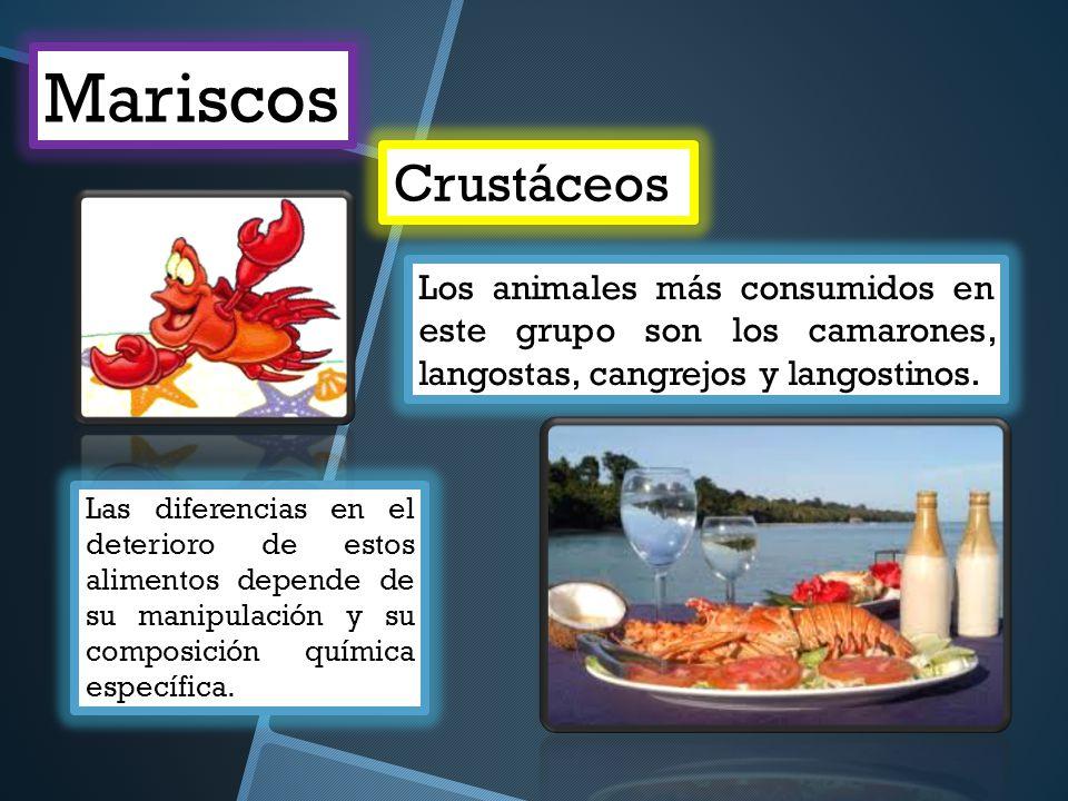 Crustáceos Mariscos Los animales más consumidos en este grupo son los camarones, langostas, cangrejos y langostinos. Las diferencias en el deterioro d