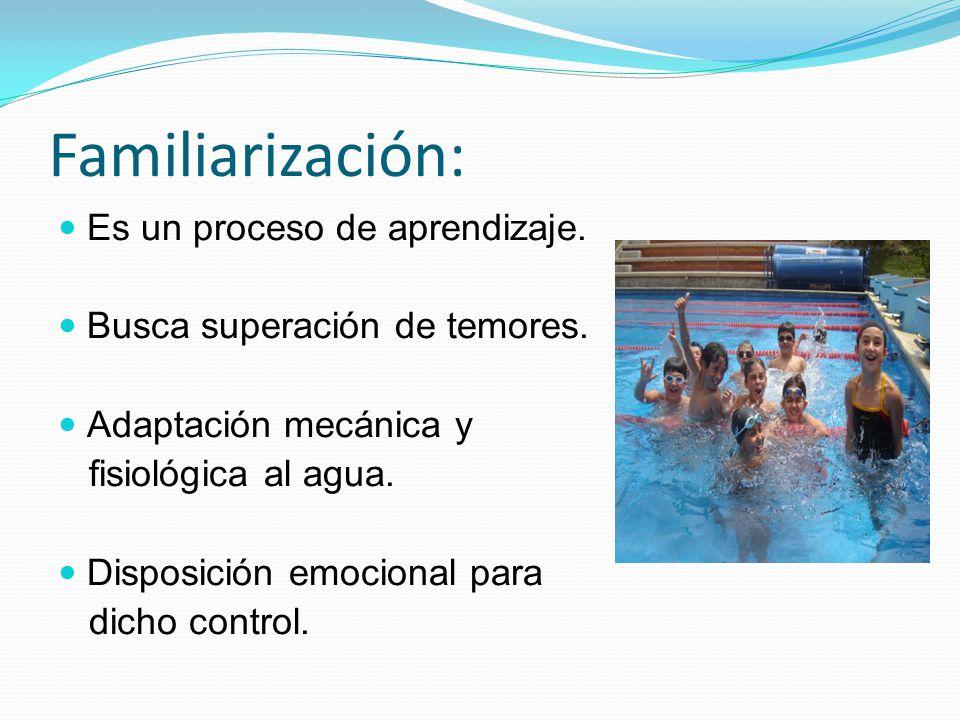 Familiarización: Es un proceso de aprendizaje. Busca superación de temores. Adaptación mecánica y fisiológica al agua. Disposición emocional para dich