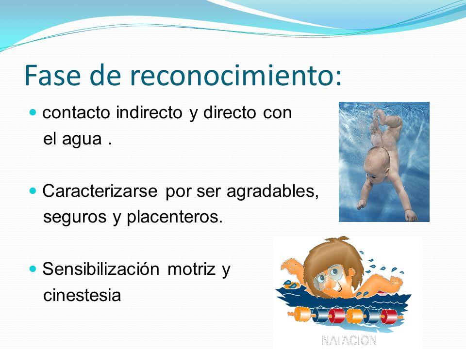 Fase de reconocimiento: contacto indirecto y directo con el agua. Caracterizarse por ser agradables, seguros y placenteros. Sensibilización motriz y c