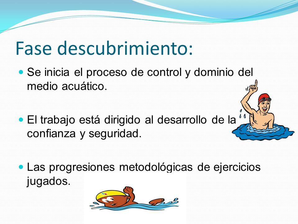 Fase descubrimiento: Se inicia el proceso de control y dominio del medio acuático. El trabajo está dirigido al desarrollo de la confianza y seguridad.