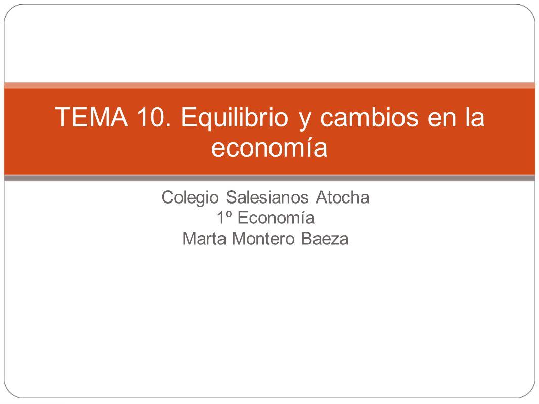Colegio Salesianos Atocha 1º Economía Marta Montero Baeza TEMA 10. Equilibrio y cambios en la economía