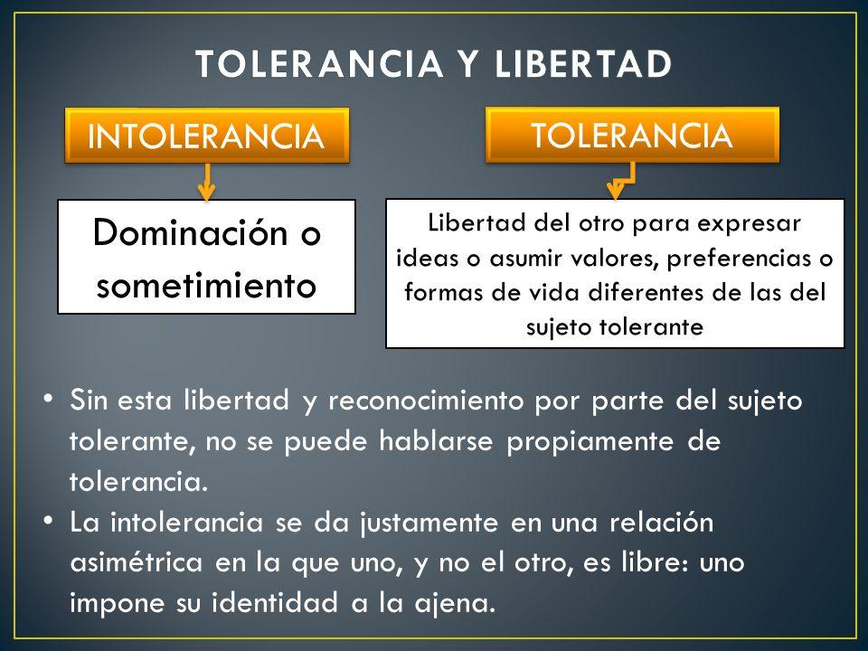 TOLERANCIA INTOLERANCIA Dominación o sometimiento Libertad del otro para expresar ideas o asumir valores, preferencias o formas de vida diferentes de