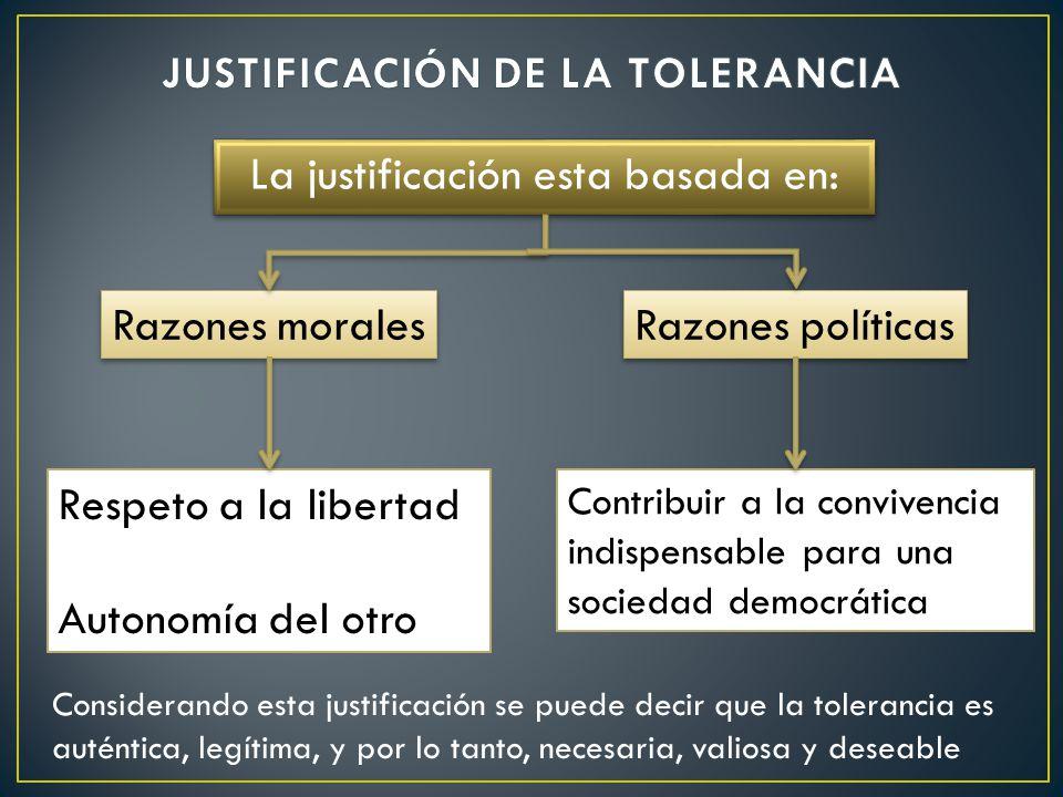 La justificación esta basada en: Razones morales Razones políticas Respeto a la libertad Autonomía del otro Contribuir a la convivencia indispensable