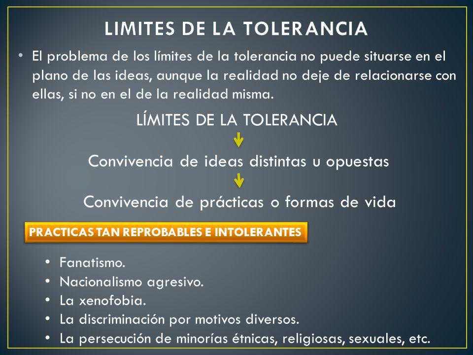 El problema de los límites de la tolerancia no puede situarse en el plano de las ideas, aunque la realidad no deje de relacionarse con ellas, si no en
