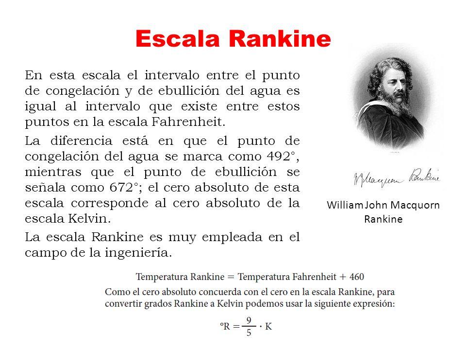 Escala Rankine En esta escala el intervalo entre el punto de congelación y de ebullición del agua es igual al intervalo que existe entre estos puntos
