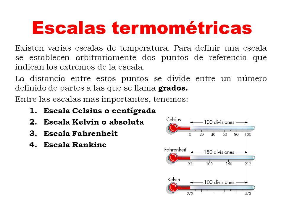 Escalas termométricas Existen varias escalas de temperatura. Para definir una escala se establecen arbitrariamente dos puntos de referencia que indica