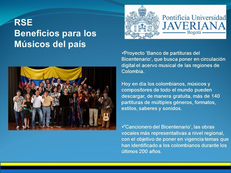 RSE Beneficios para los Músicos del país Proyecto Banco de partituras del Bicentenario, que busca poner en circulación digital el acervo musical de las regiones de Colombia.