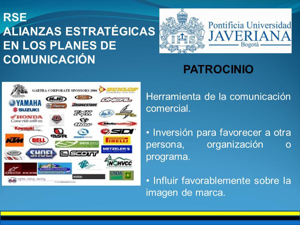 RSE ALIANZAS ESTRATÉGICAS EN LOS PLANES DE COMUNICACIÓN PATROCINIO Herramienta de la comunicación comercial.