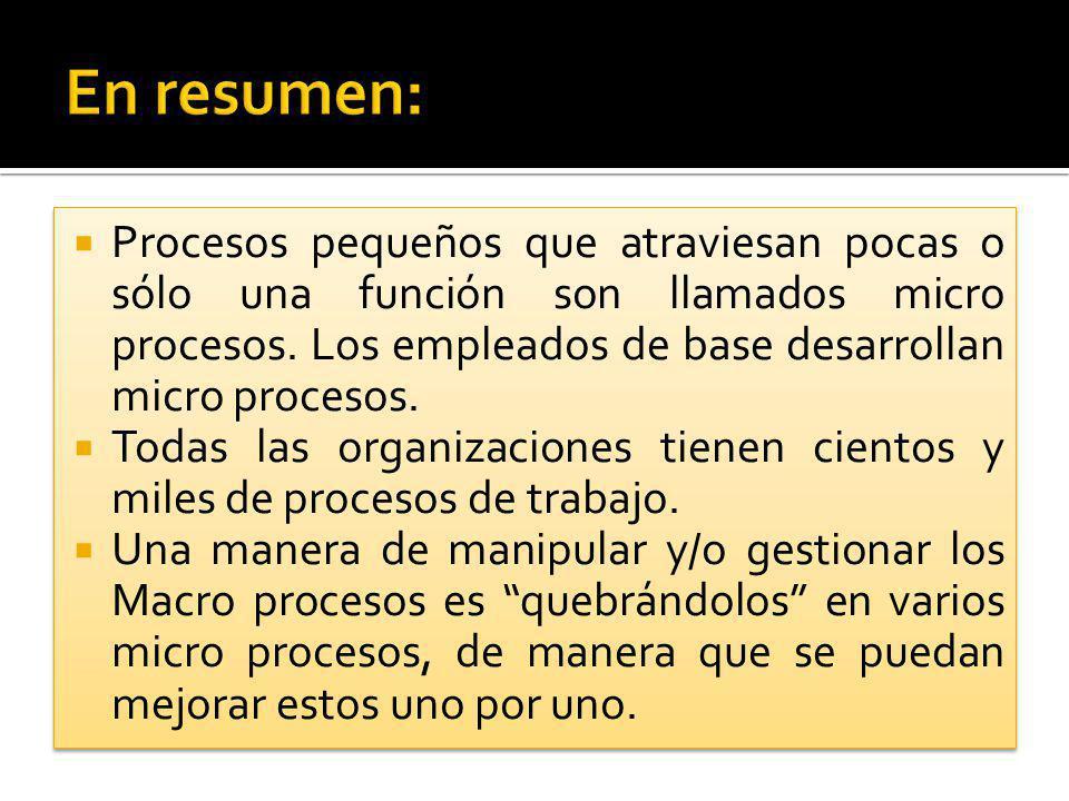 Procesos pequeños que atraviesan pocas o sólo una función son llamados micro procesos. Los empleados de base desarrollan micro procesos. Todas las org