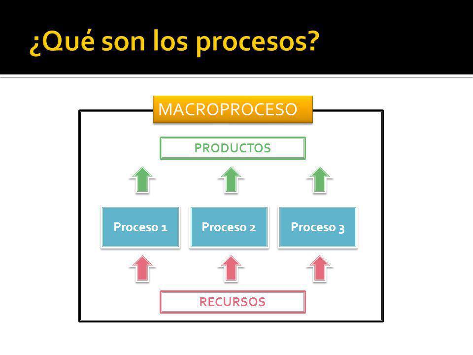 Proceso 1 Proceso 2 Proceso 3 MACROPROCESO RECURSOS PRODUCTOS