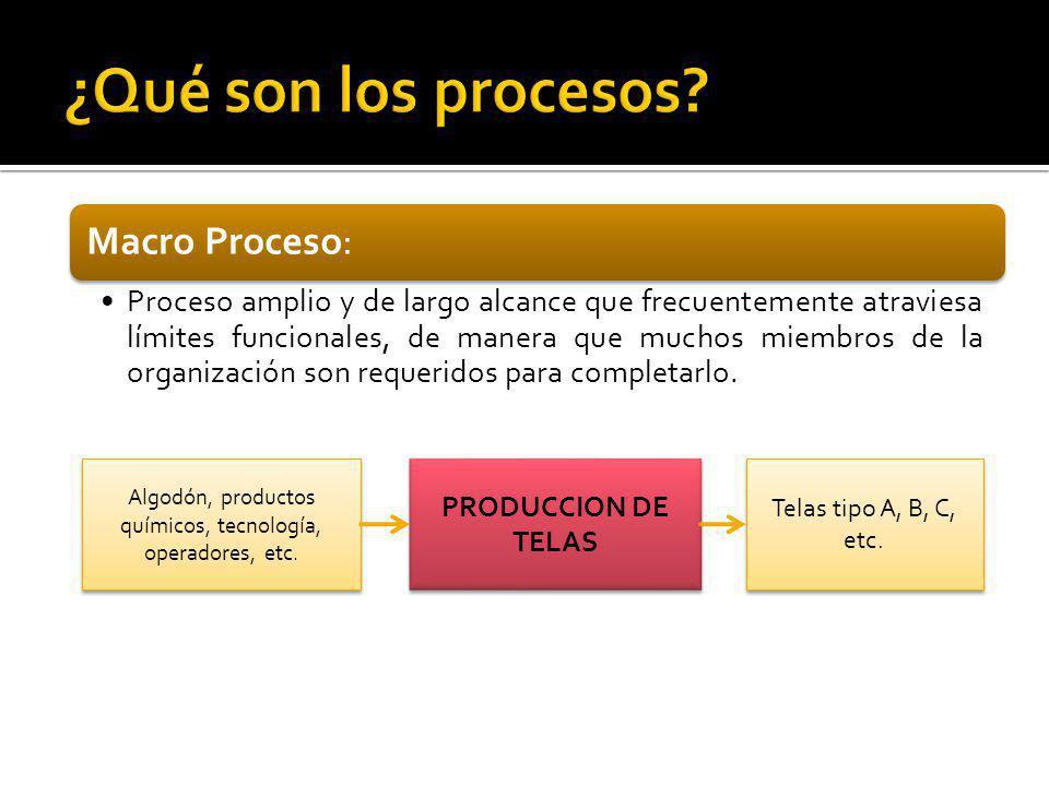 Macro Proceso: Proceso amplio y de largo alcance que frecuentemente atraviesa límites funcionales, de manera que muchos miembros de la organización so