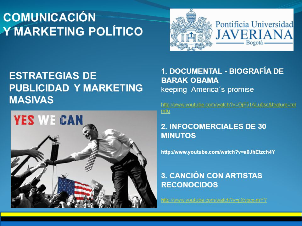 COMUNICACIÓN Y MARKETING POLÍTICO ESTRATEGIAS DE PUBLICIDAD Y MARKETING MASIVAS 1.