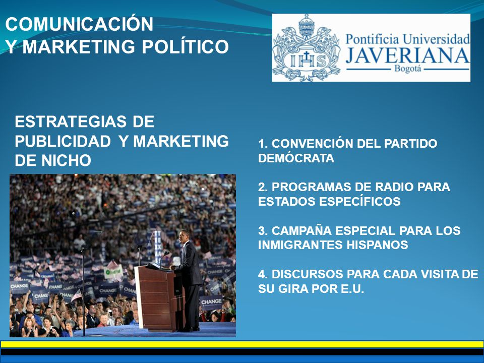 COMUNICACIÓN Y MARKETING POLÍTICO ESTRATEGIAS DE PUBLICIDAD Y MARKETING DE NICHO 1.