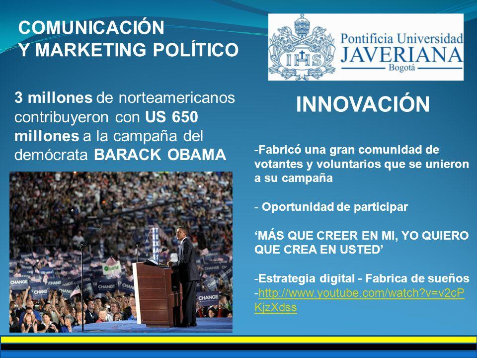 COMUNICACIÓN Y MARKETING POLÍTICO 3 millones de norteamericanos contribuyeron con US 650 millones a la campaña del demócrata BARACK OBAMA INNOVACIÓN -