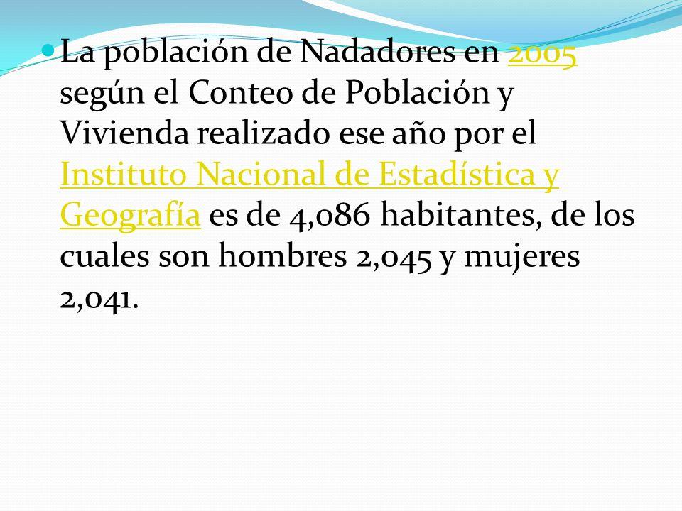 La población de Nadadores en 2005 según el Conteo de Población y Vivienda realizado ese año por el Instituto Nacional de Estadística y Geografía es de 4,086 habitantes, de los cuales son hombres 2,045 y mujeres 2,041.2005 Instituto Nacional de Estadística y Geografía