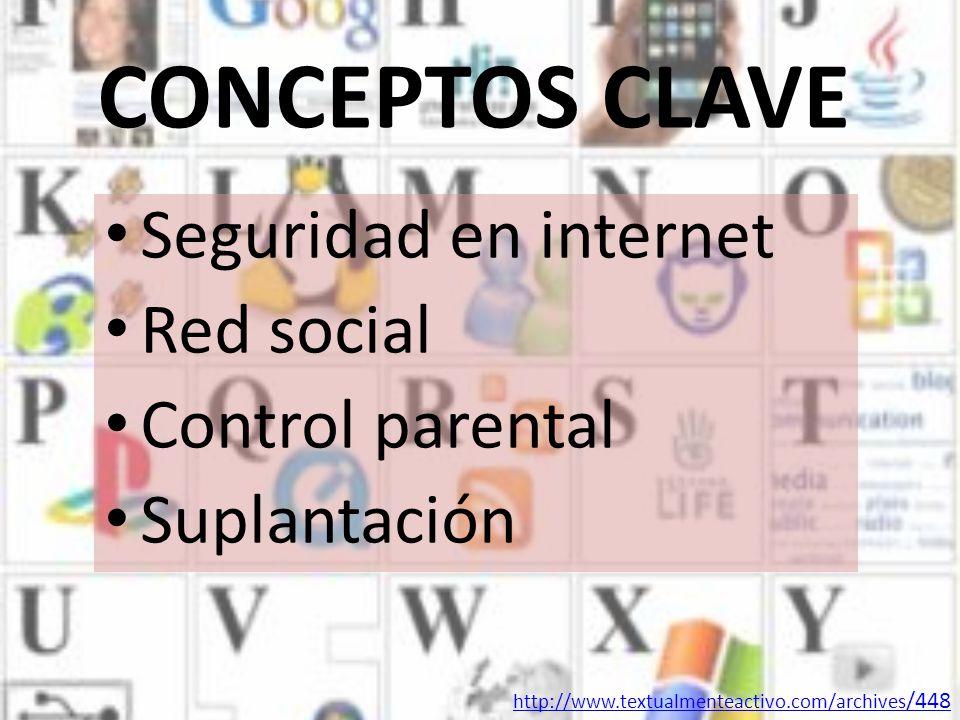 CONCEPTOS CLAVE Seguridad en internet Red social Control parental Suplantación http://www.textualmenteactivo.com/archives /448
