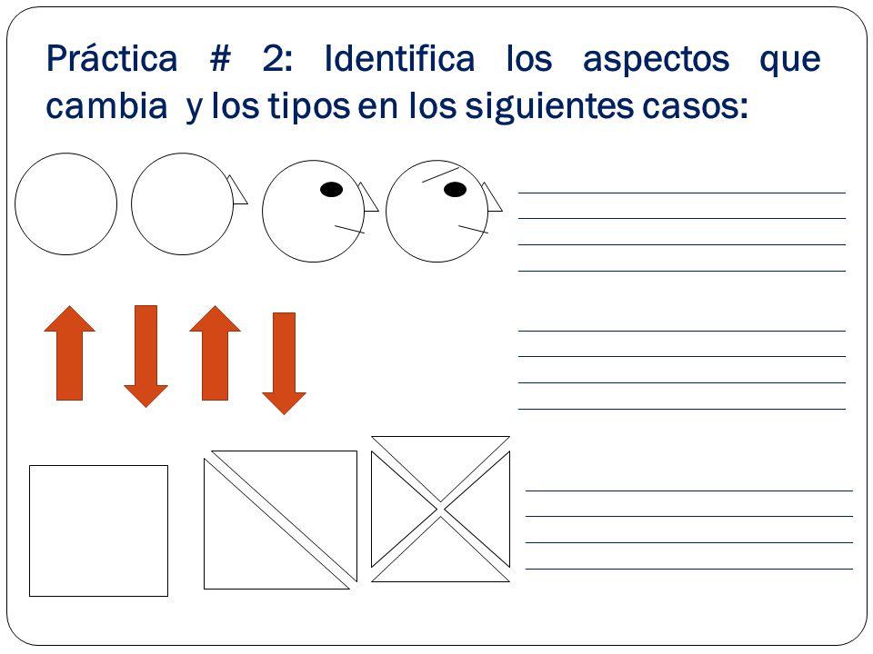 Práctica # 2: Identifica los aspectos que cambia y los tipos en los siguientes casos: ______________________________ ______________________________