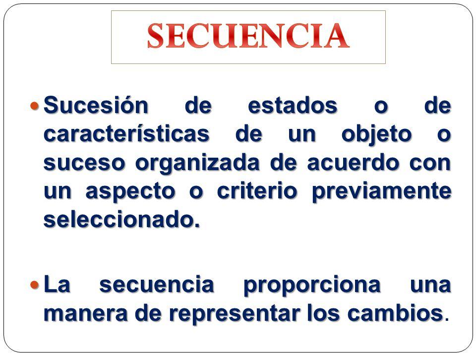 Sucesión de estados o de características de un objeto o suceso organizada de acuerdo con un aspecto o criterio previamente seleccionado.