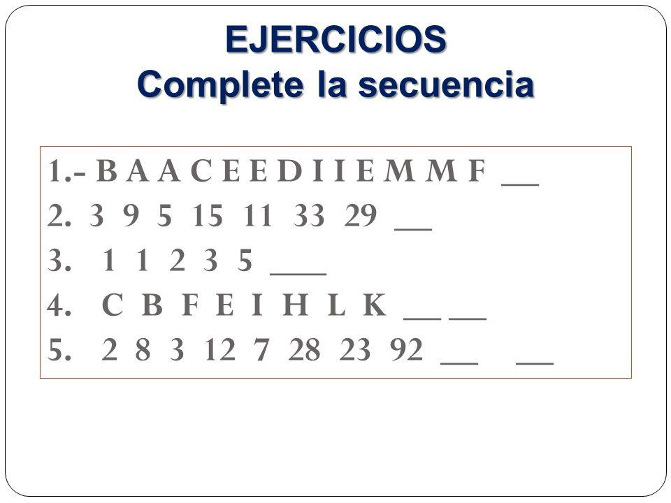 1.- B A A C E E D I I E M M F __ 2.