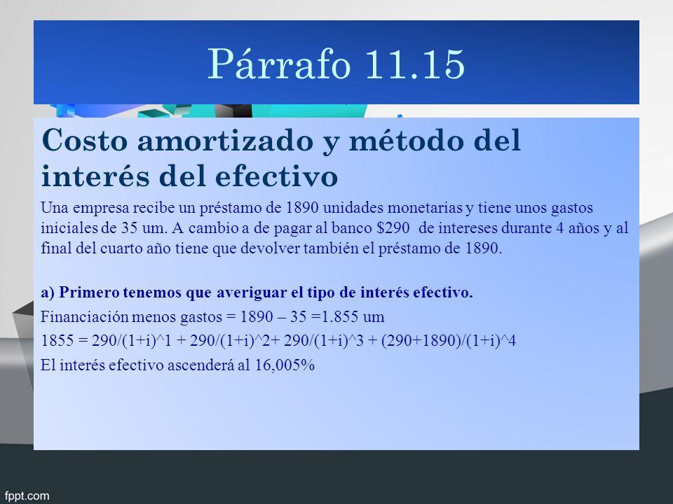 Párrafo 11.15 Costo amortizado y método del interés del efectivo Una empresa recibe un préstamo de 1890 unidades monetarias y tiene unos gastos iniciales de 35 um.