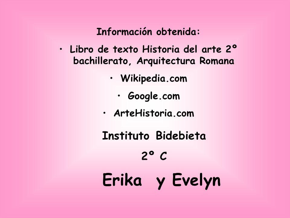 Información obtenida: Libro de texto Historia del arte 2º bachillerato, Arquitectura Romana Wikipedia.com Google.com ArteHistoria.com Instituto Bidebi