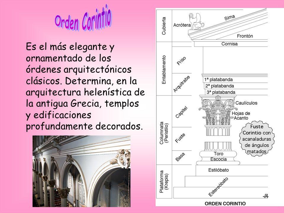 Es el más elegante y ornamentado de los órdenes arquitectónicos clásicos. Determina, en la arquitectura helenística de la antigua Grecia, templos y ed