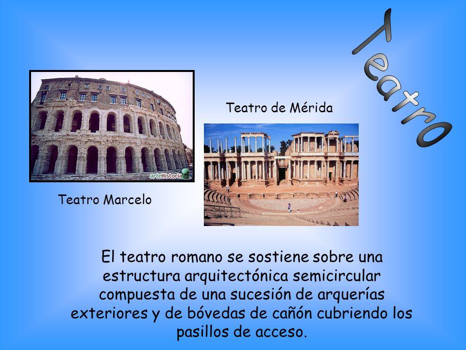El teatro romano se sostiene sobre una estructura arquitectónica semicircular compuesta de una sucesión de arquerías exteriores y de bóvedas de cañón