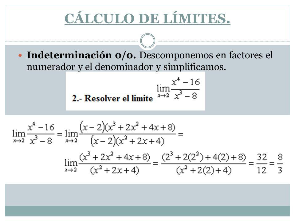 CÁLCULO DE LÍMITES. Indeterminación 0/0. Descomponemos en factores el numerador y el denominador y simplificamos.