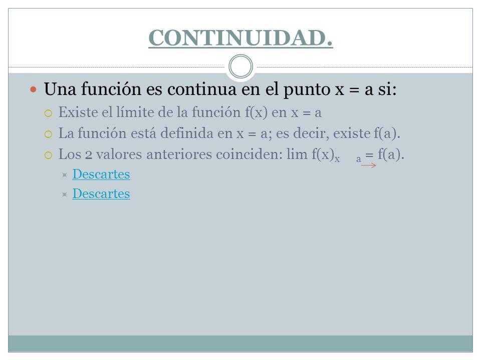 CONTINUIDAD. Una función es continua en el punto x = a si: Existe el límite de la función f(x) en x = a La función está definida en x = a; es decir, e
