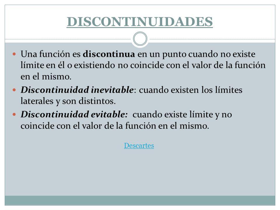 DISCONTINUIDADES Una función es discontinua en un punto cuando no existe límite en él o existiendo no coincide con el valor de la función en el mismo.