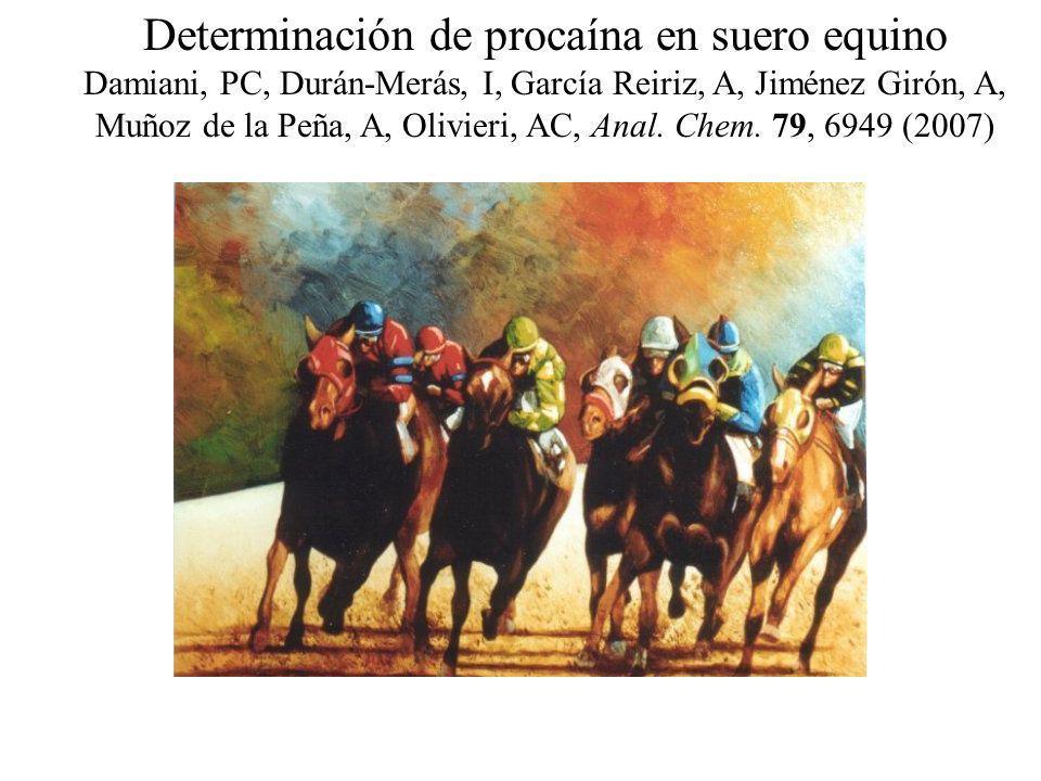 Determinación de procaína en suero equino Damiani, PC, Durán-Merás, I, García Reiriz, A, Jiménez Girón, A, Muñoz de la Peña, A, Olivieri, AC, Anal. Ch