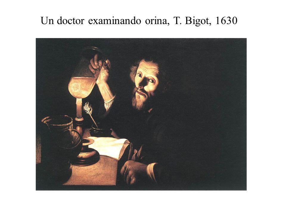Un doctor examinando orina, T. Bigot, 1630