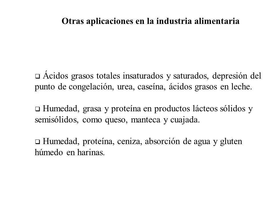 Otras aplicaciones en la industria alimentaria Ácidos grasos totales insaturados y saturados, depresión del punto de congelación, urea, caseína, ácido