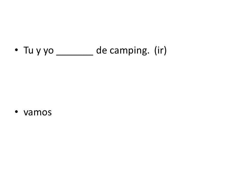 Tu y yo _______ de camping. (ir) vamos