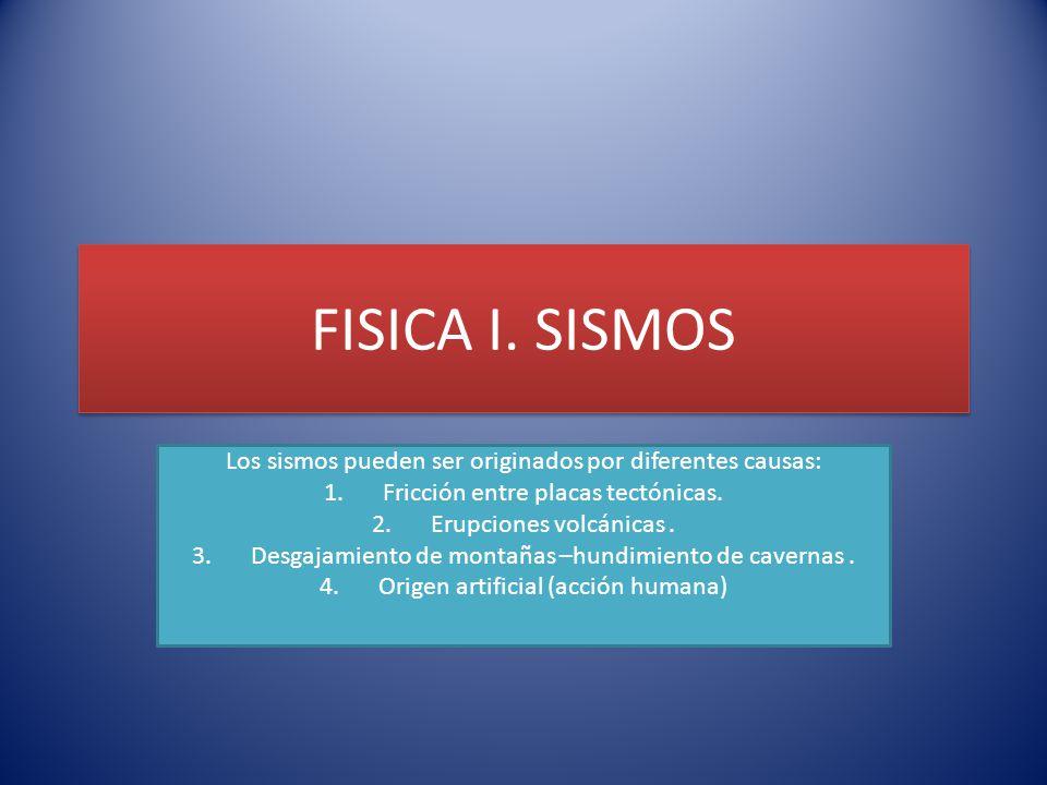 FISICA I. SISMOS Los sismos pueden ser originados por diferentes causas: 1.Fricción entre placas tectónicas. 2.Erupciones volcánicas. 3.Desgajamiento