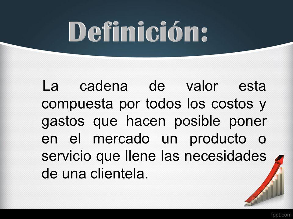 La cadena de valor esta compuesta por todos los costos y gastos que hacen posible poner en el mercado un producto o servicio que llene las necesidades de una clientela.