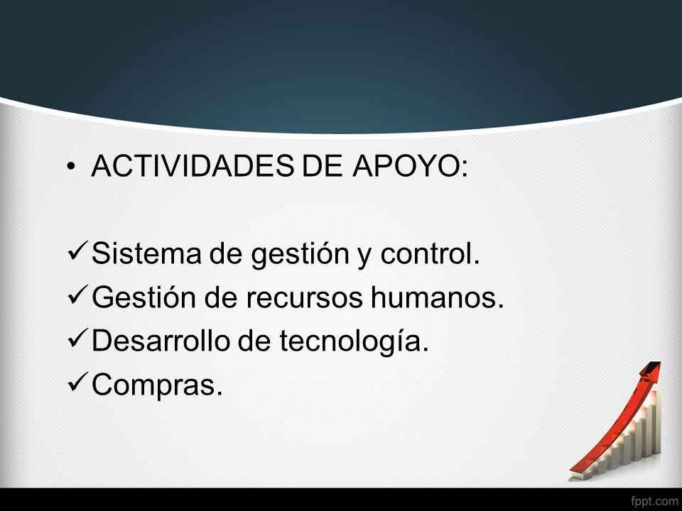 ACTIVIDADES DE APOYO: Sistema de gestión y control.