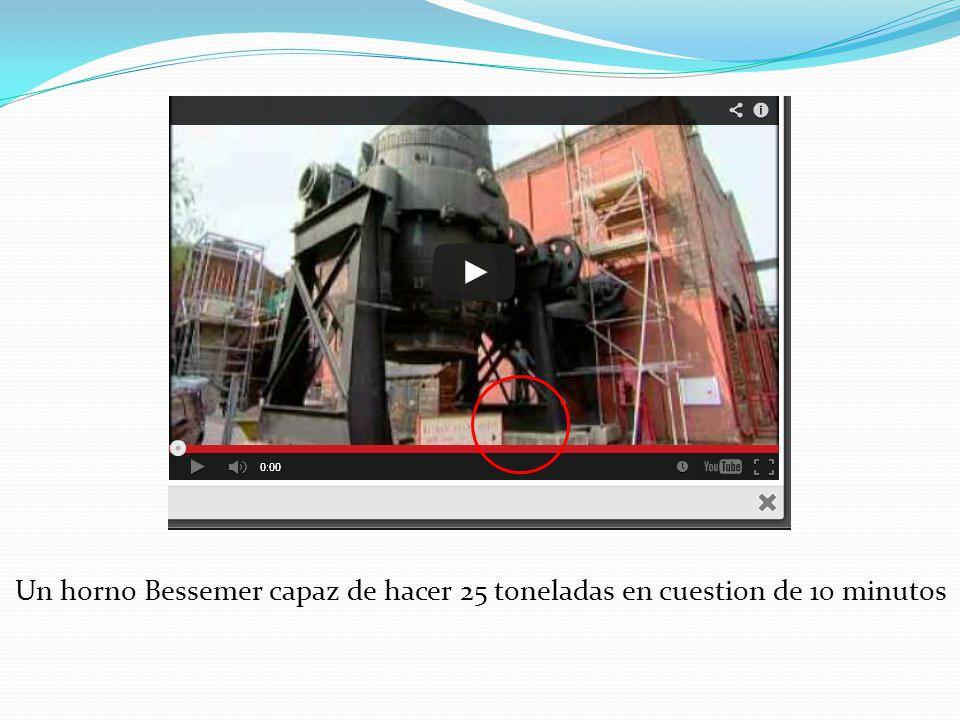 Un horno Bessemer capaz de hacer 25 toneladas en cuestion de 10 minutos