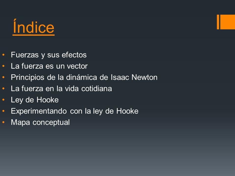 Índice Fuerzas y sus efectos La fuerza es un vector Principios de la dinámica de Isaac Newton La fuerza en la vida cotidiana Ley de Hooke Experimentan