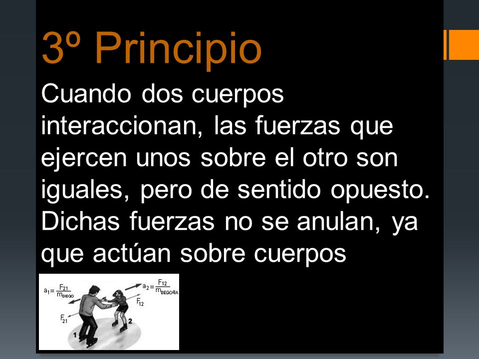 3º Principio Cuando dos cuerpos interaccionan, las fuerzas que ejercen unos sobre el otro son iguales, pero de sentido opuesto. Dichas fuerzas no se a