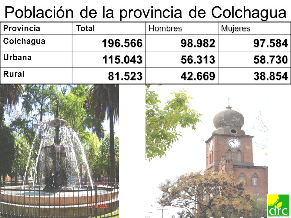10 Población de la provincia de Colchagua Provincia l TotalHombresMujeres Colchagua196.56698.98297.584 Urbana115.04356.31358.730 Rural 81.523 81.52342