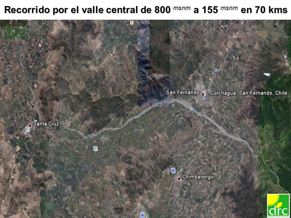 13 Recorrido por el valle central de 800 msnm a 155 msnm en 70 kms