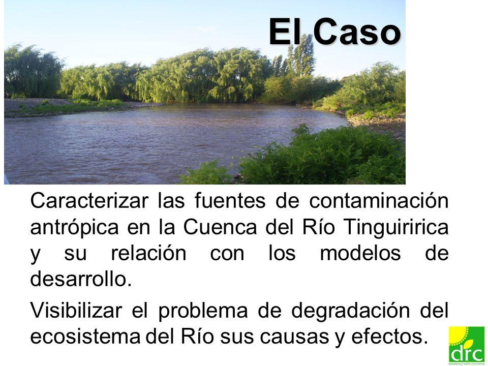 20 El Caso Caracterizar las fuentes de contaminación antrópica en la Cuenca del Río Tinguiririca y su relación con los modelos de desarrollo. Visibili