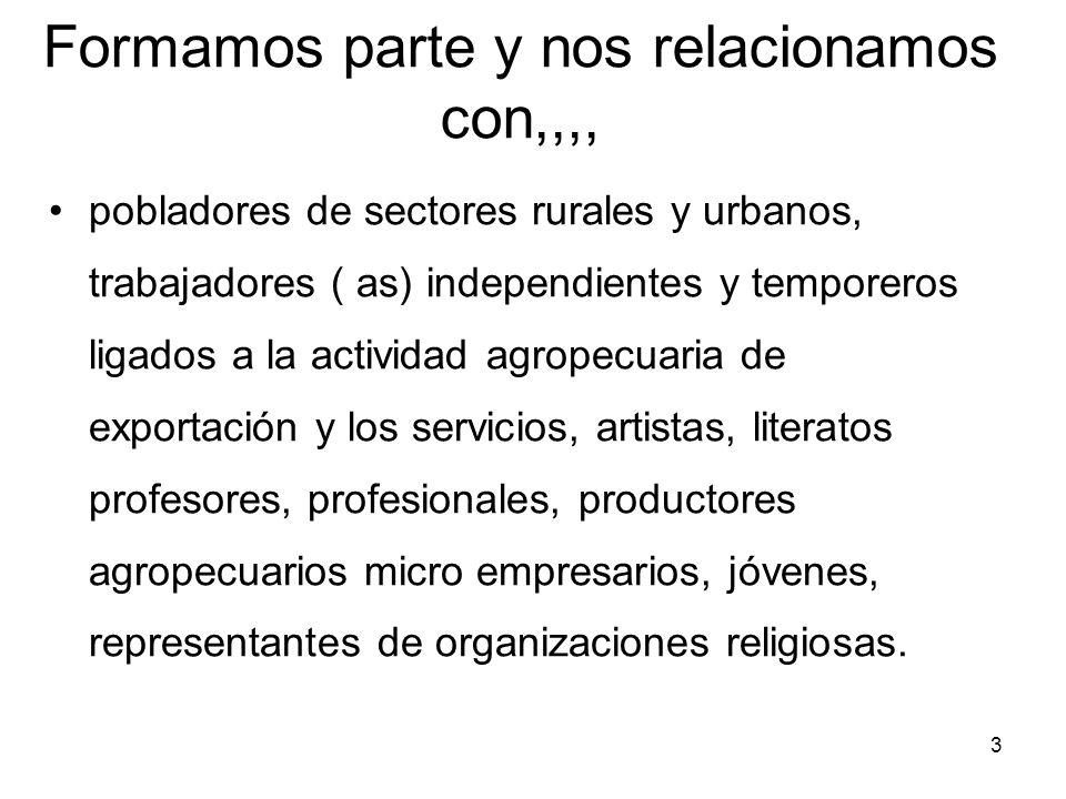 3 Formamos parte y nos relacionamos con,,,, pobladores de sectores rurales y urbanos, trabajadores ( as) independientes y temporeros ligados a la acti