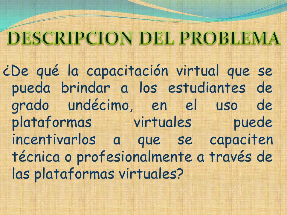 ¿De qué la capacitación virtual que se pueda brindar a los estudiantes de grado undécimo, en el uso de plataformas virtuales puede incentivarlos a que