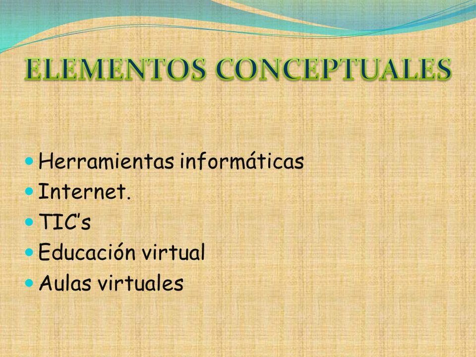 Herramientas informáticas Internet. TICs Educación virtual Aulas virtuales